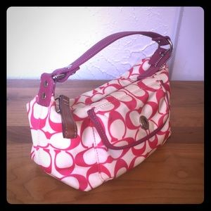 Hot pink & white Coach purse